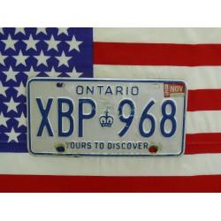 Kanadská spz Ontario xbp968