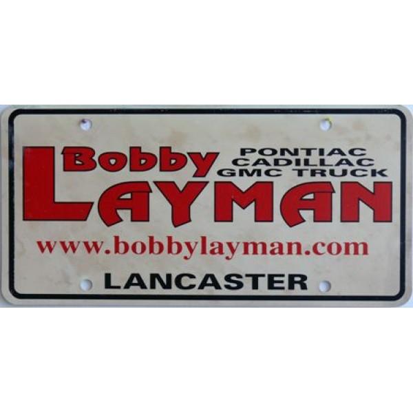 Americká reklamní SPZ prodejců automobilů BOBBY LAYMAN