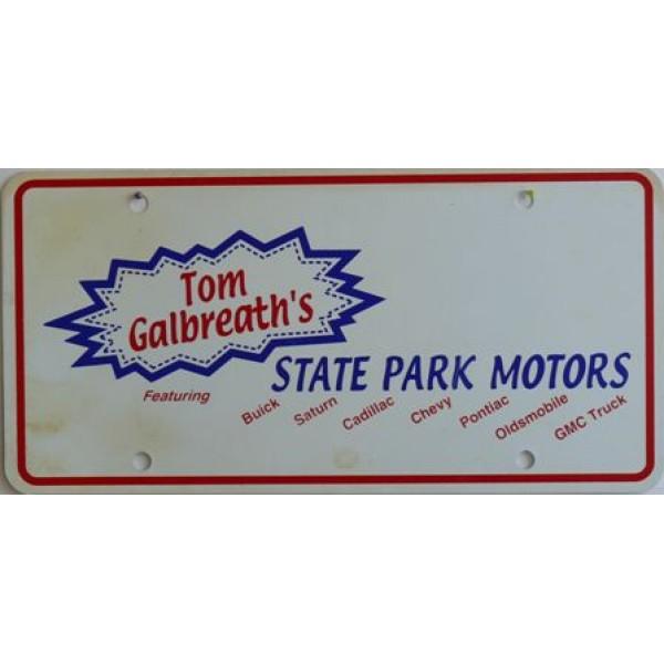 Americká reklamní SPZ prodejců automobilů STATE PARK MOTORS