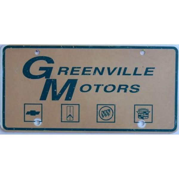 Americká reklamní SPZ prodejců automobilů GREENVILLE MOTORS