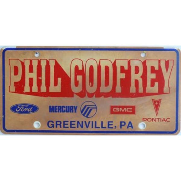 Americká reklamní SPZ prodejců automobilů PHIL GODREY