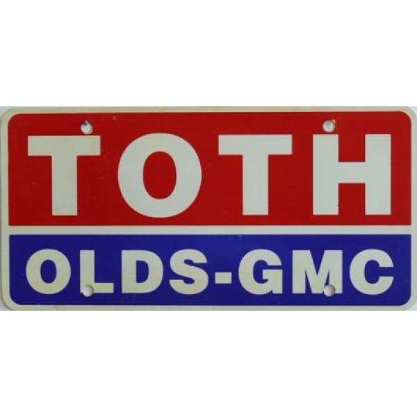 Americká reklamní SPZ prodejců automobilů TOTH OLDS