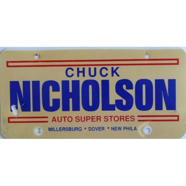 Americká reklamní SPZ prodejců automobilů CHUCK NICHOLSON