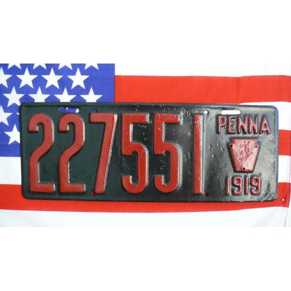 Americká spz Pennsylvania historická 1919