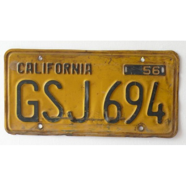 Americká SPZ California historická 1956