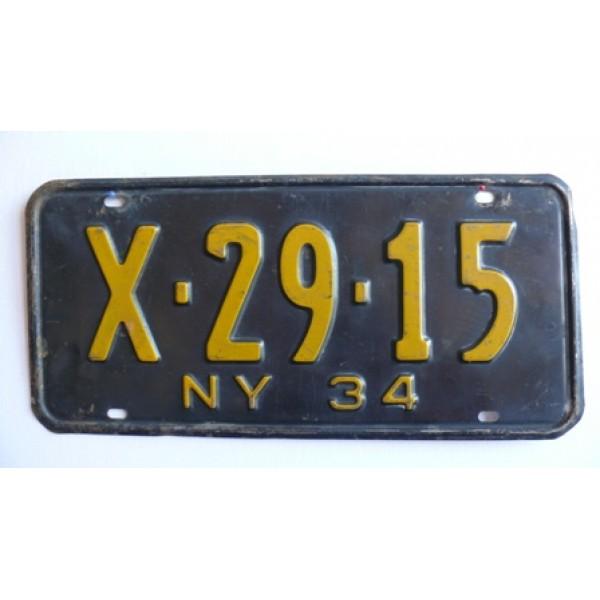 Americká SPZ New York historická 1934